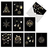 M6723XSG Gilded Holiday: 10 Assorted Christmas Note Cards Featuring Elegant Ornaments on Black Background, w/White Envelopes.
