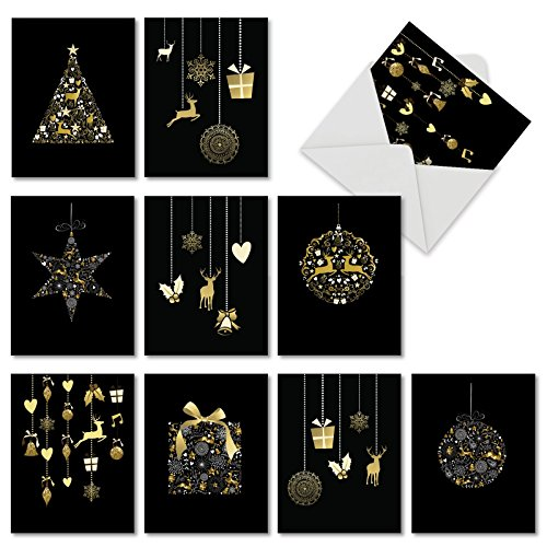 Ornaments Christmas Card (M6723XSG Gilded Holiday: 10 Assorted Christmas Note Cards Featuring Elegant Ornaments on Black Background (Not Foil), w/White Envelopes.)
