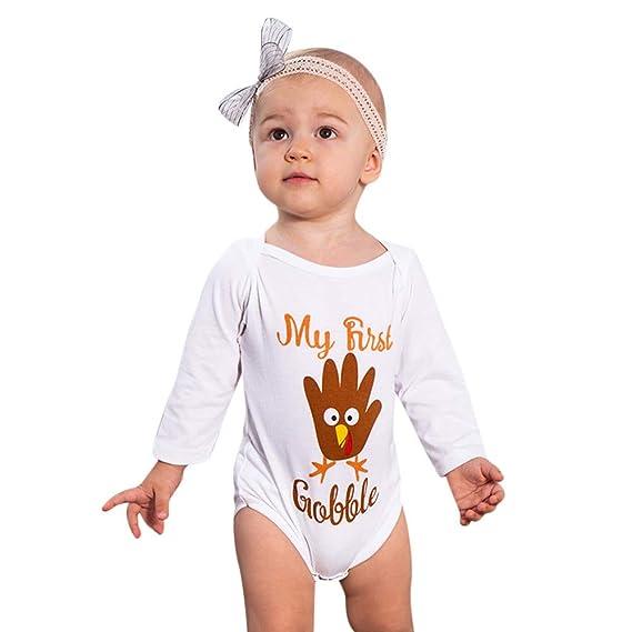 POLPqeD bebé Monos Mangas largas Recién Nacido Bebé Blanco Impresión Monos Conjuntos para Niño Niña 6