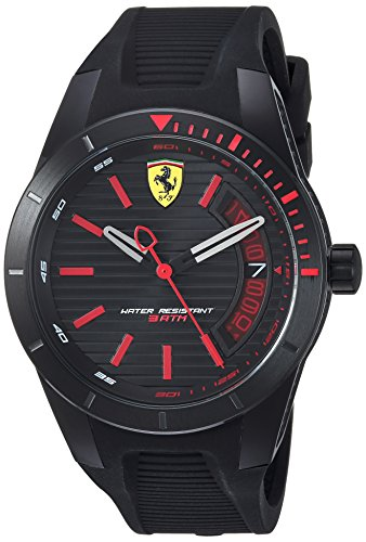 Ferrari Men's 'RedRevT' Quartz Stainless Steel and Rubber Casual Watch, Color:Black (Model: 830428)