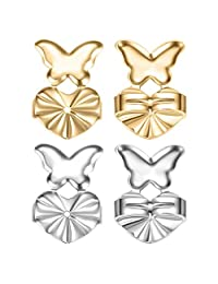 Earring Lifters Backing for Women - 2 Pairs of Adjustable Hypoallergenic Butterfly Earring Post Lifts Back Supports