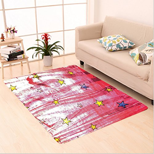 Nalahome Custom carpet ttle Luminous Stars over Grunge Retro Style Background Solar Celestial Theme Art Red Blue Yellow area rugs for Living Dining Room Bedroom Hallway Office Carpet (6.5' X 10') by Nalahome