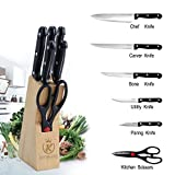 Evana 7-Piece Pcs Best Kitchen Knife Set With Wooden Block Stand Chef'S Carver Boning Utility Pairing Knives And Scissors