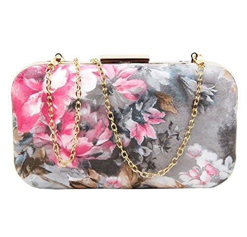Clutch Floral Hardcase Ladies Print Leather Bag Purse Party Black Multicolour Faux 0wUqFnUd
