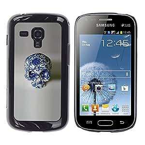 GOODTHINGS Funda Imagen Diseño Carcasa Tapa Trasera Negro Cover Skin Case para Samsung Galaxy S Duos S7562 - porcelana blanca cráneo diseño floral