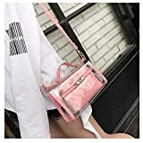 Youndcc Clear Cross-Body Shoulder Purse Crossbody Purse with Inner Bag, Adjustable Strap, Transparent, Waterproof, NFL Stadium Approved (Pink)
