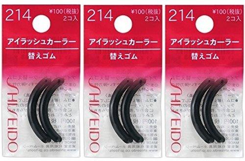 Shiseido Eyelash Curler Sort Rubber, Regular Size Refills (214), 3 Pack - Total 6 Pieces (Made in ()