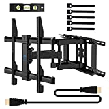 70 inch full motion tv wall mount - TV Wall Mount Bracket Full Motion for most 37-70 Inch LED, LCD, OLED, Flat Screen, Plasma TVs - Fits 16-24 Inch Wood Studs - TV Mount Holds up to 132lbs, VESA 600x400mm by PERLESMITH