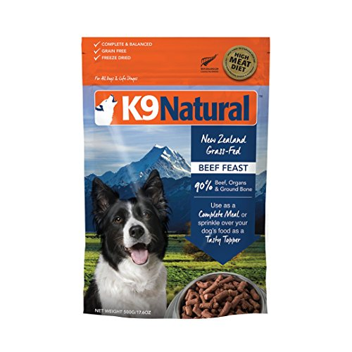 K9 Natural Freeze Dried Dog Food Or Topper By Perfect Grain Free, Healthy, Hypoallergenic Limited Ingredients Booster For All Dog Types - Raw, Freeze Dried Mixer - Beef 17.6oz Pack