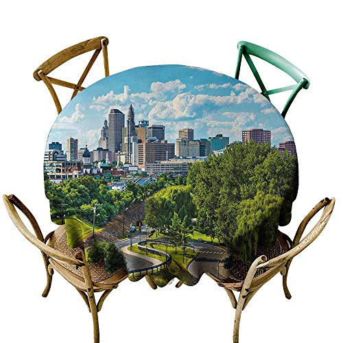 Zmlove United States Antifouling Tablecloth Hartford Connecticut USA Downtown Cityscape Aerial View Modern Life Washable Tablecloth Sky Blue Green Grey (Round - 71