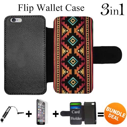 Flip Wallet Case for iPhone 6 Plus/6S Plus (Native American Tribal Pattern ) with 3 Card Holders | Shock Protection | Lightweight | Includes HD Tempered Glass and Stylus Pen by Innosub (Ipad Mini 3 Case Tribal)