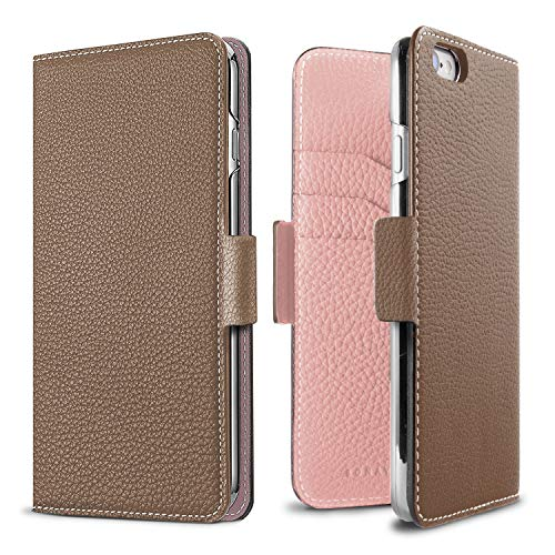 - BONAVENTURA Diary Magnet Leather Wallet Case [Compatible with iPhone 8/7, Etoupe & Sakura]