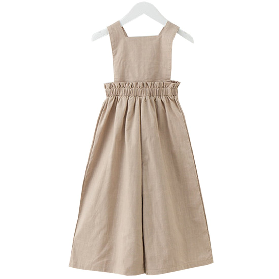 YueLian Girls Summer Removable Strap Linen Long Pants Overalls Jumpsuits (7-8 Years)