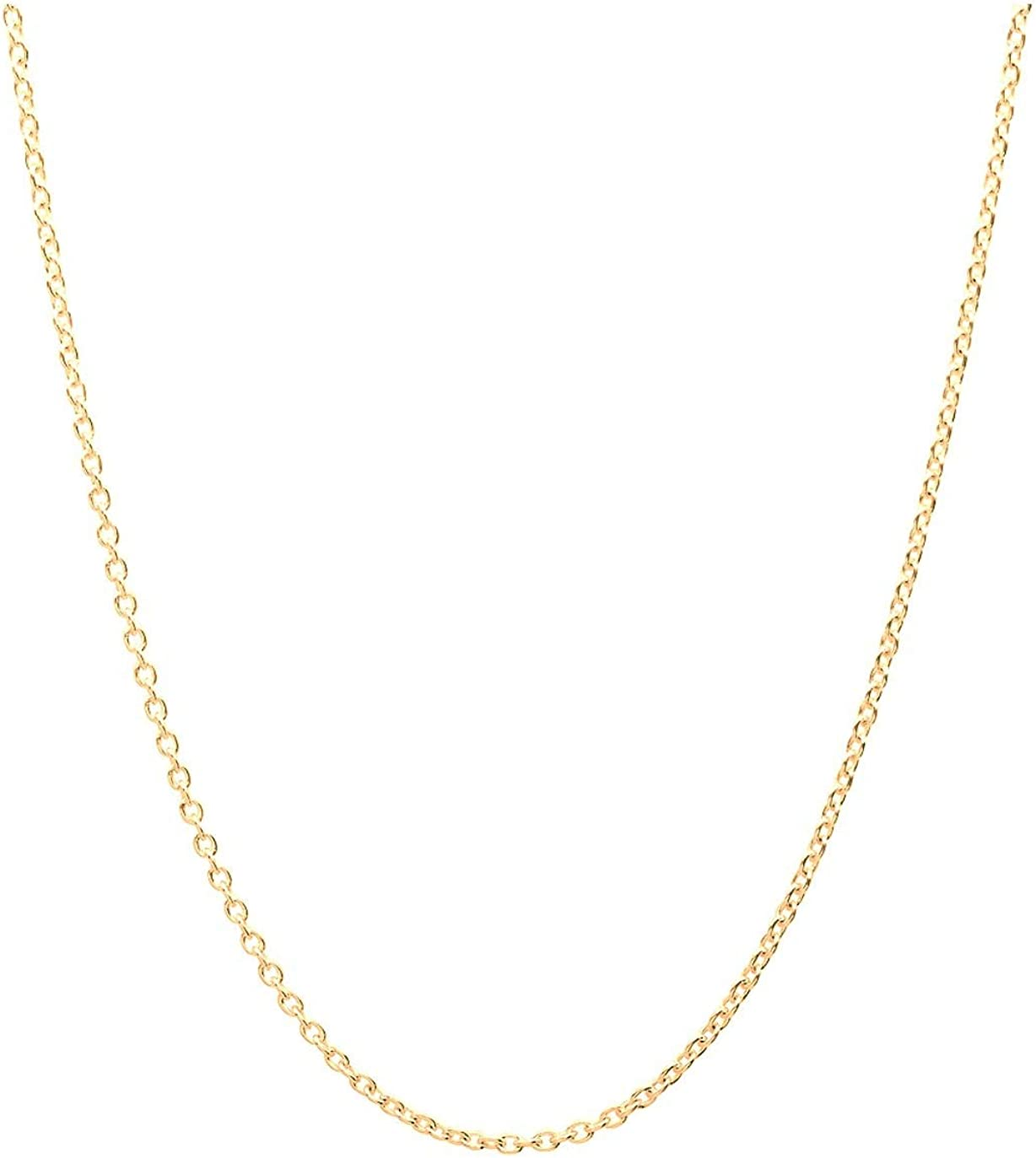 14K Gold 2.5mm Diamond Cut Anchor/Cable Chain Necklace - Available in Multiple Colors and Sizes