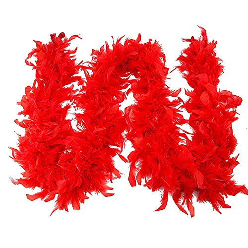 CHIDY Scarves Quality White Feather Boa Flapper Hen Night Burlesque Dance Party Show Costume(Red) ()