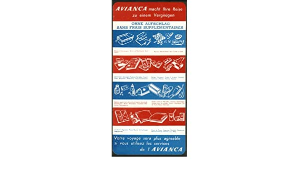 Amazon.com: AVIANCA Aerovías Nacionales de Colombia No Charge Services In-flight card 1950s: Entertainment Collectibles
