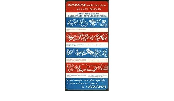 Amazon.com: AVIANCA Aerovías Nacionales de Colombia No Charge Services In-flight card 1950s: Entertainment Collectibles
