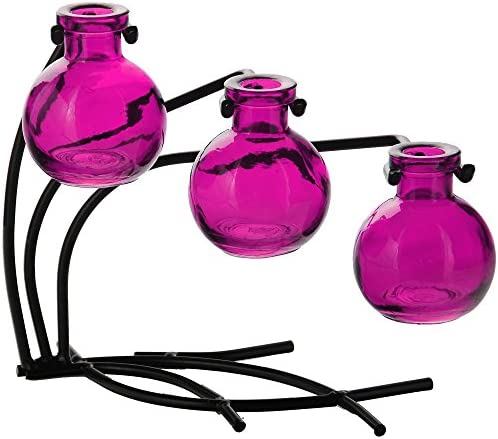 Couronne Company M504-200-07 Casablanca Three Recycled Glass Vases Metal Stand, 7 1 2 , Fuchsia, 1 Piece