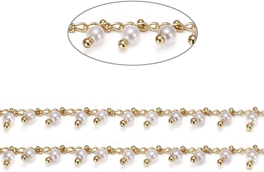 5M Airssory 16.4 Ft Plastic Pearl Trim Rosary Beaded Brass Linking Chain Soldered Real Gold Plated Bulk for Antilost Glass Holder Lanyard Strap Extender Jewelry Making DIY Christmas Wedding Party