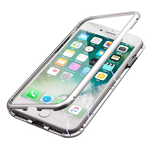 finest selection 4ae01 8c0c9 iPhone 7 Case, iPhone 8 Case, Diaxbest Ultra Slim Magnetic Adsorption Metal  Case, Hard Clear Tempered Glass Back Cover Support Wireless Charging ...