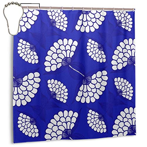 Puloa African Floral Motif on Royal Blue Shower Curtains with 12PCS Stainless Steel Hooks Rings,Durable Mildew Bathroom Curtain 72