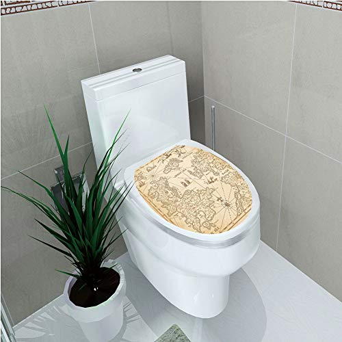 Toilet Applique,Map,Highly Detailed Ancient Grunge Treasure Map Adventure Sailing Island Journey Travel Decorative,Sand Brown,Custom Sticker,W12.6