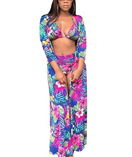 Triangle Bikini Top for Women Tie Waist Bikini Bottom with Floral Cover Up Ponchos Blue