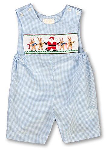 Rosalina-Sir John Baby Boy's Dancing Santa Reindeer Blue Gingham Smocked Romper (Baby Boy Gingham)