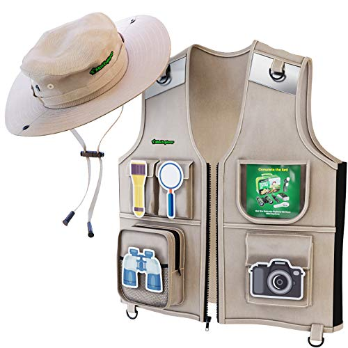 Outdoor Explorer Set - Cargo Vest & Hat for Young Kids - Durable Fabric, 5 Pockets, Safety Reflective Strips - Great Safari Gift for The Young Backyard Explorer - Park ()