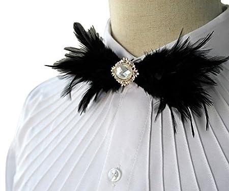 Pluma negra Cravat pajarita Pajarita Corbata camisa: Amazon.es: Hogar