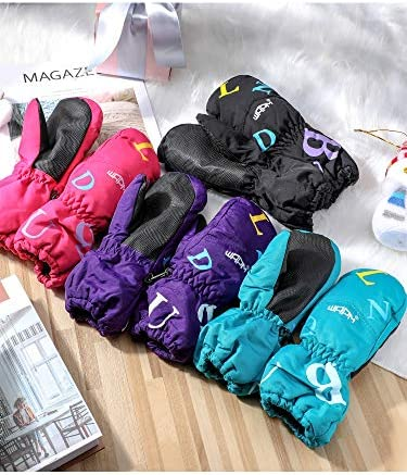 4 Pairs Kids Ski Mittens Waterproof Snow Gloves Winter Warm Snowboard Mittens for Cold Weather Outdoor