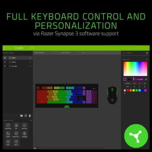 Razer Cynosa Chroma Gaming Keyboard: 168 Individually Backlit RGB Keys – Spill-Resistant Design – Programmable Macro Functionality – Quiet & Cushioned 51NHSI86ucL