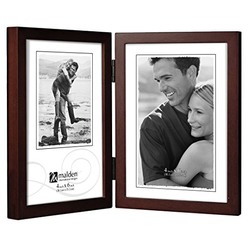 Malden International Designs Dark Walnut Concept Wood Picture Frame, Double Vertical, 2-4x6, Walnut