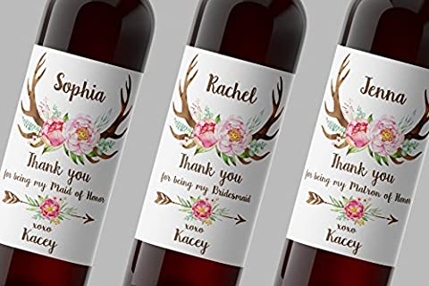 THANK YOU for being My BRIDESMAID, Antlers, MAID OF HONOR, MATRON of HONOR Wine Bottle Label, CUSTOM Thank You Gifts, Wedding Party Wine Labels, Wedding Favors, Weatherproof, Waterproof, (Return Labels For My Orders)