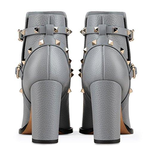 de Invierno tacón Señora Hebilla de Botas Banquetes Botas Gray para Impermeable Metal Alto Zapatos Cuero señora Remaches otoño de 7111FD Salones 0Orxq0B5