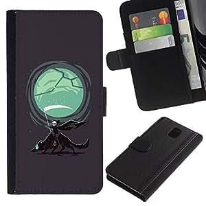 All Phone Most Case / Oferta Especial Cáscara Funda de cuero Monedero Cubierta de proteccion Caso / Wallet Case for Samsung Galaxy Note 3 III // Grim Reaper & Wolf