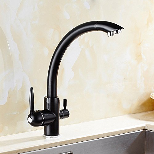 A Lpophy Bathroom Sink Mixer Taps Faucet Bath Waterfall Cold and Hot Water Tap for Washroom Bathroom and Kitchen Retro Copper Black Paint redatable Hot and Cold Water C