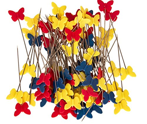 Flat Butterfly Pins (TECH-P Quilting Quilter's 2.0'' Flat Butterfly Head Pins Boxed- Childhood Color (1x100)