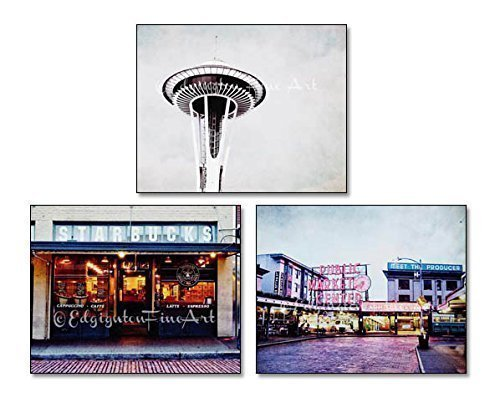 Set of 3 Seattle Photos Space Needle Starbucks Public Market Urban Decor 5x7 inch prints by Audra Edgington Fine Art