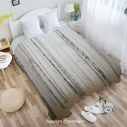 PUTIEN Super Soft Blankets for Couch Bed Birthday Morning Mist in Autumn Birch Grove Flora Calm Serene Simple Nature Picture Blanket for Home(49Wx78L)