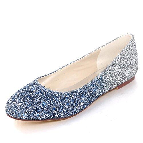 L Shoes Satin Tacones de YC Mujer Wedding Cerrados Party Bombas Prom Lentejuelas de Blue Planas Tallas H6HrTq