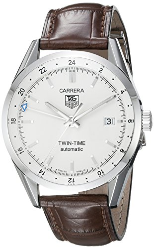 TAG Heuer Men s WV2116.FC6181 Carerra Calibre 7 Twin Time Automatic White Dial Brown Crocodile Watch