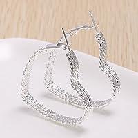 Siam panva 925 Silver Heart Dangle Drop Hoop Stud Earrings Women Wedding Engagement Jewelry