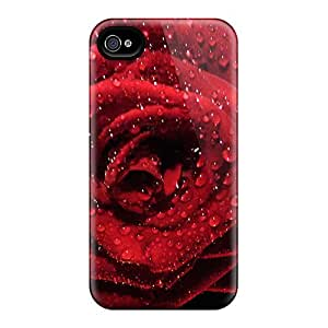 Protective Tpu Case With Fashion Design For Iphone 4/4s (red Rose With Dewdrops Widescreen)