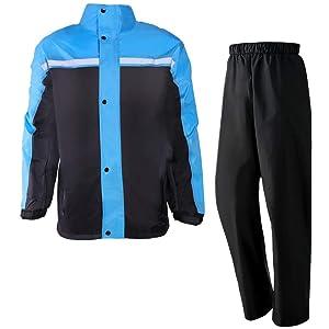 Lilystar レインスーツ レインコート 上下セット レインウェア メンズ レディース 防水 撥水 透湿 雨カッパ 雨具 自転車 アウトドア 作業用 釣り 登山 収納袋付き (XL, グレー+ブルー)