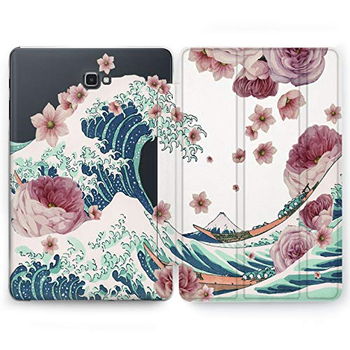 Wonder Wild Flowers Wave Samsung Galaxy Tab S4 S2 S3 A E Smart Stand Case 2015 2016 2017 2018 Tablet Cover 8 9.6 9.7 10 10.1 10.5 Inch Clear Design Journey Ocean Vacation Trip Watercolor Print