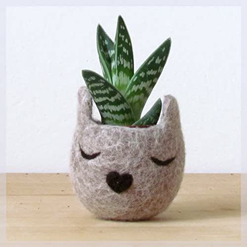 Animal planter/Cat head planter/Felt succulent planter/Beige planter