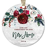 """New Home Christmas Ornament 2018, Modern Farmhouse, First Christmas in Our New House Gift for Homeowner 1st Present Floral Ceramic Keepsake Present 3"""" Flat Circle Porcelain with Gold Ribbon & Free Box"""