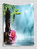 Ambesonne Zen Meditation Decor Collection, Water Lily Flowers Spa Nature and Feng Shui Calm Water Picture Pattern, Bedroom Living Girls Boys Room Dorm Accessories Wall Hanging Tapestry, Sky Blue Pink