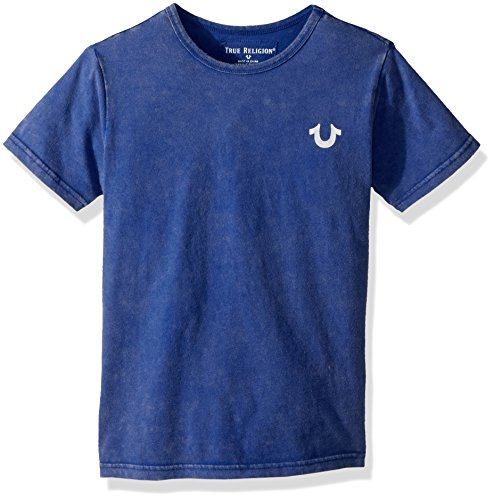 True Religion Big Boys' Branded Logo Tee Shirt, Bright Blue, (Blue Big Logo T-shirt)